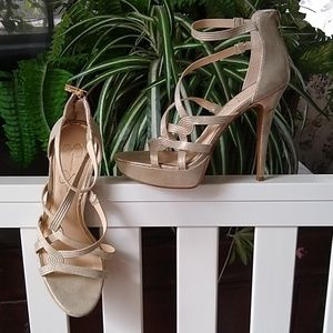 Jessica Simpson Gold Strappy Heels Size 10